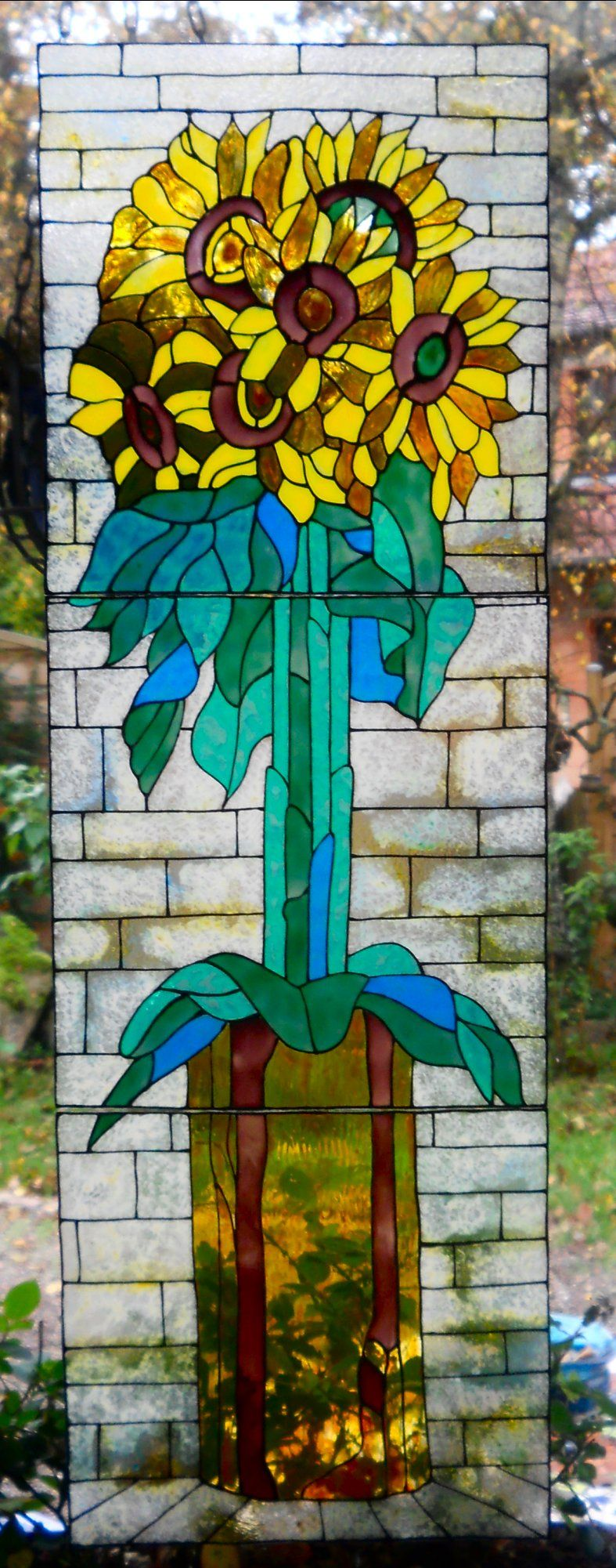 wicoart faux stained glass window cling glass painting