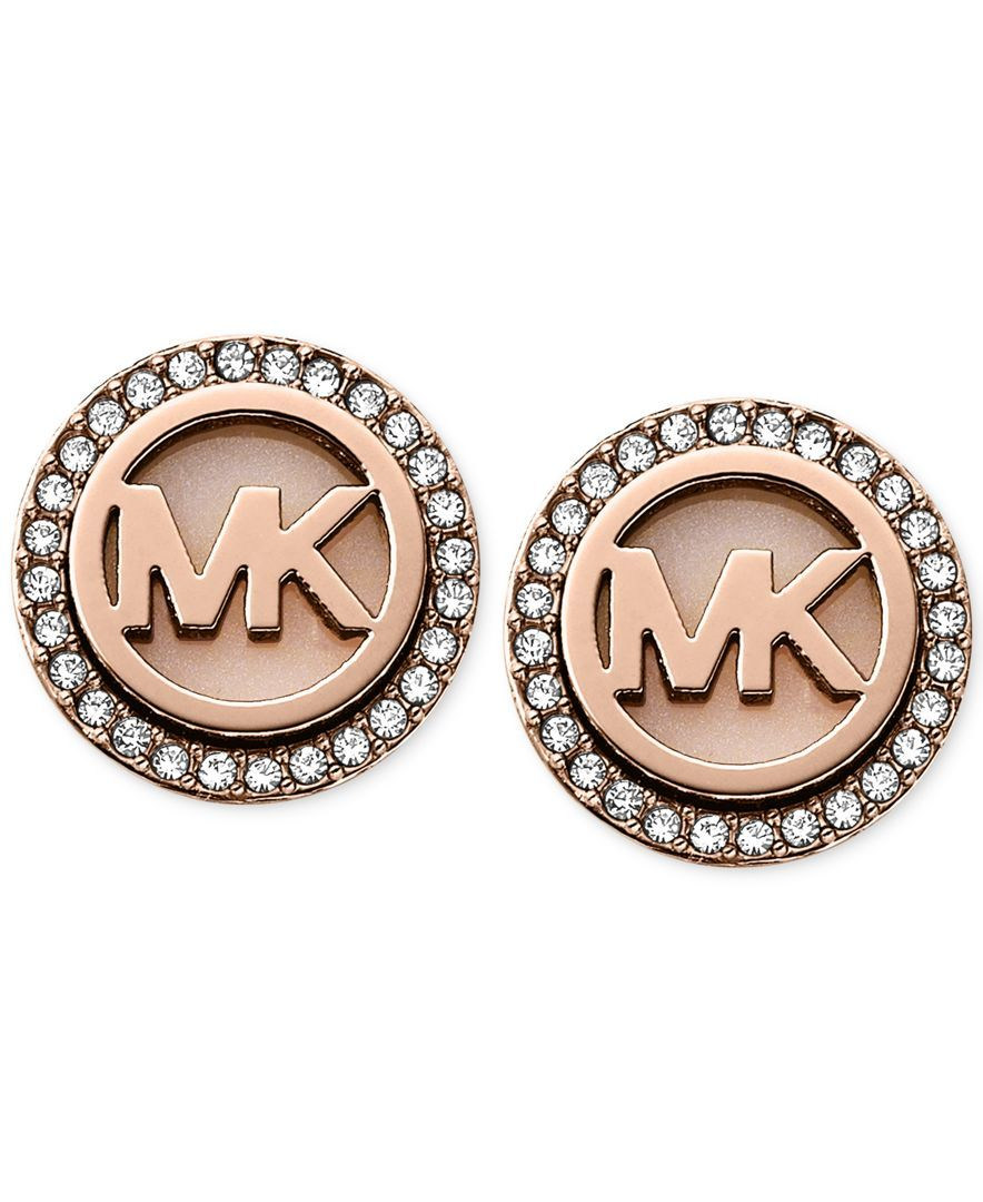 d5bf302fef303 Michael Kors Rose Gold-Tone Mk Logo Disc Earrings