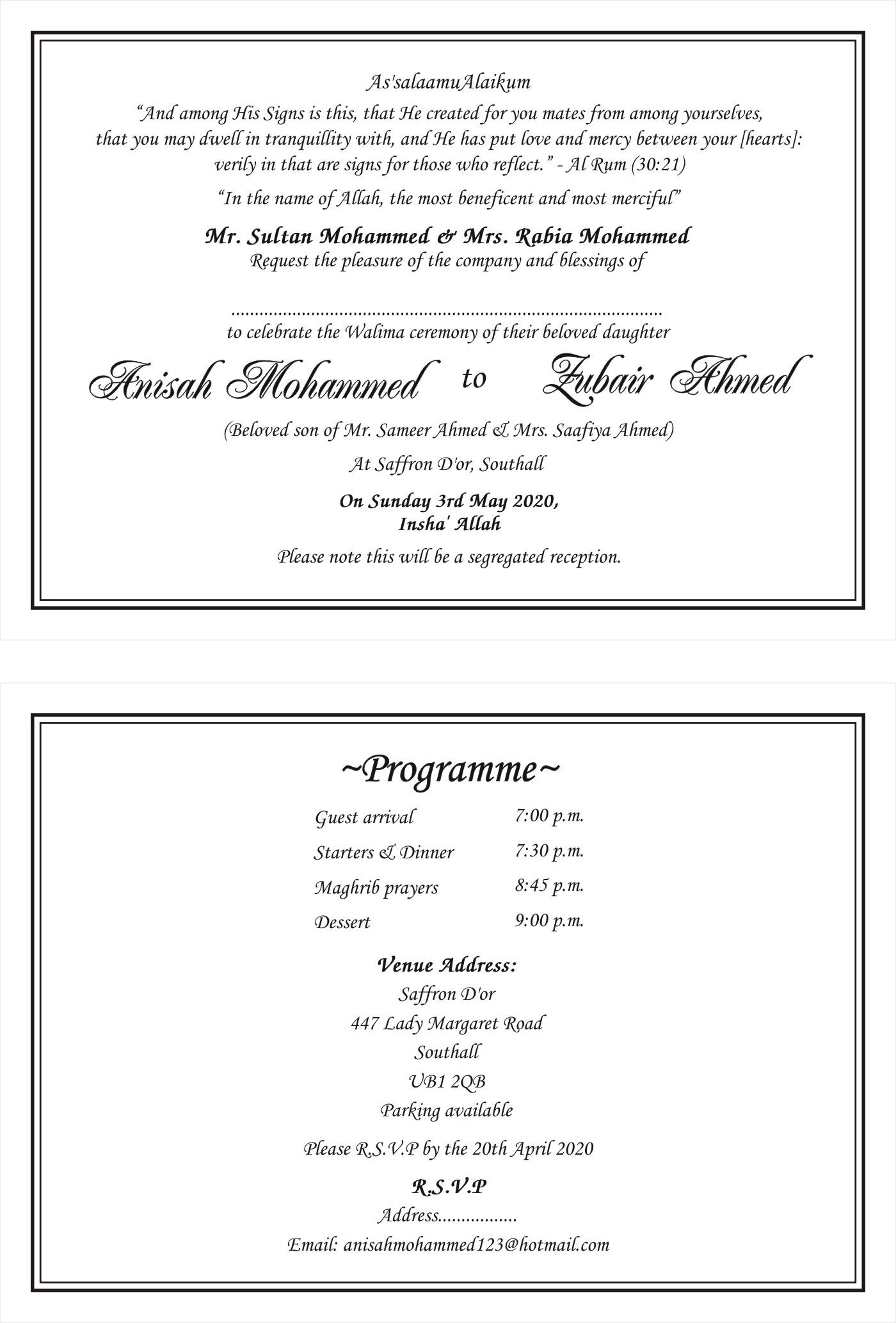 Islamic - Muslim Invitation cards wordings | Traditional Muslim ...