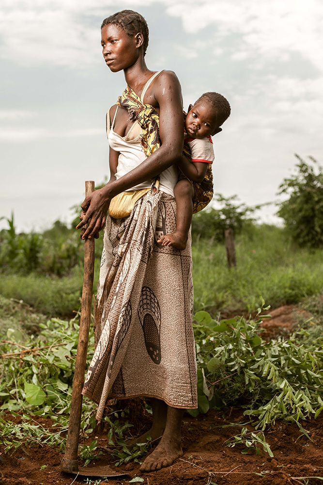 Family working the fields . Tete, Mozambique
