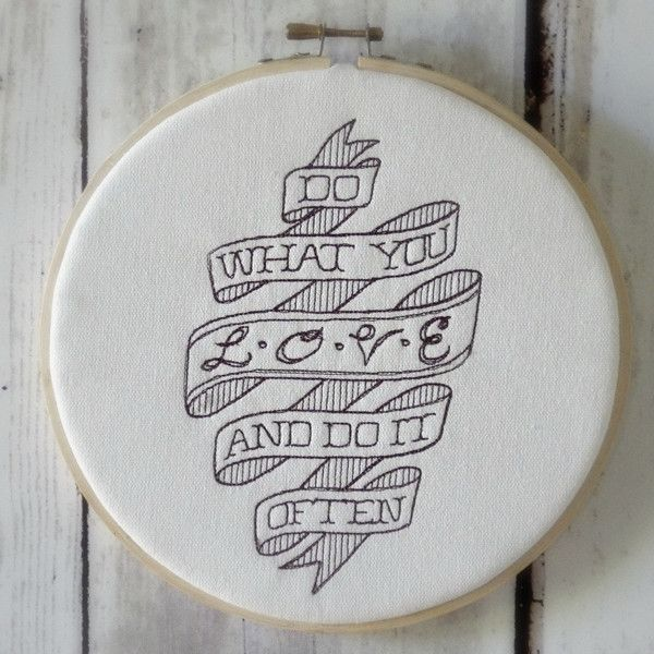 "Hoop Art ""Do What You Love And Do It Often"" - Machine Embroidered Wall... ($25) ❤ liked on Polyvore featuring home, home decor, wall art, unicorn wall art, wall home decor, word wall art, quote wall art and typography wall art"
