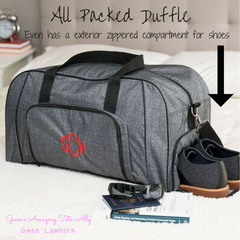 All Packed Duffle Bag Exterior Zippered Shoe Compartment Thirty One Party