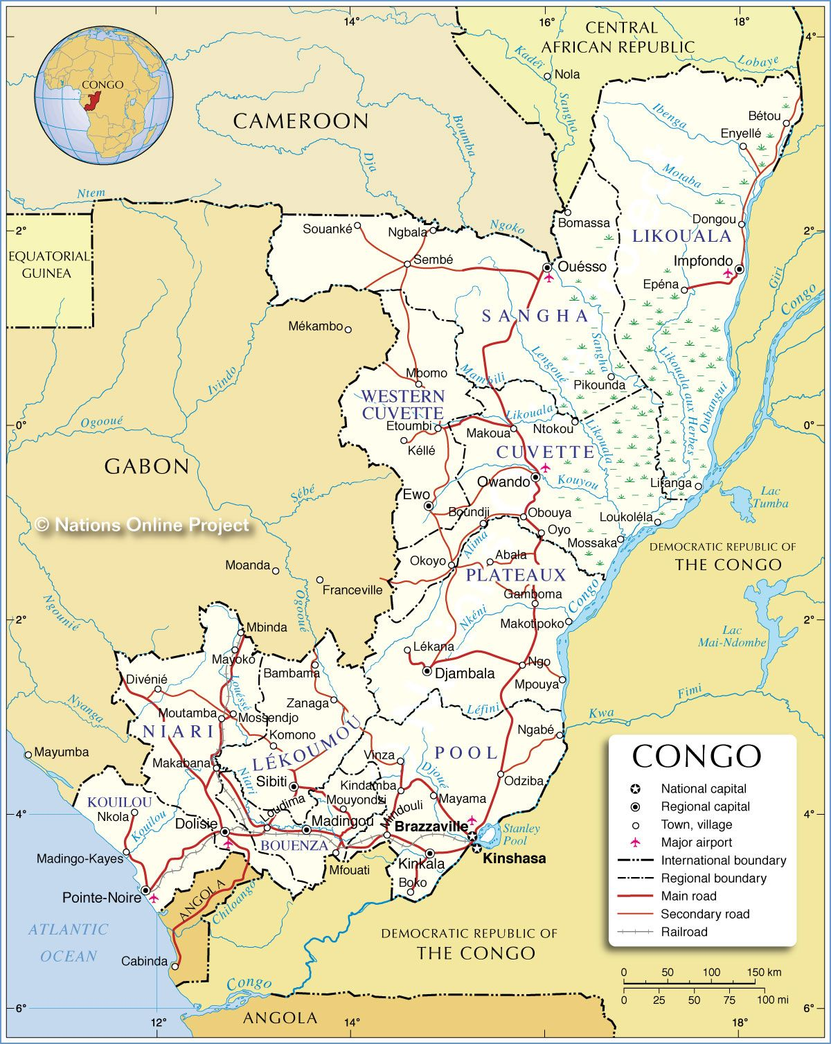 Administrative Map of Republic of the Congo mapSCAPE Pinterest