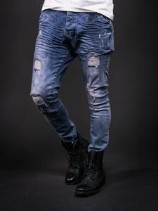 D&H Men Slim Fit Wrinkled Ripped Distressed Jeans - Blue