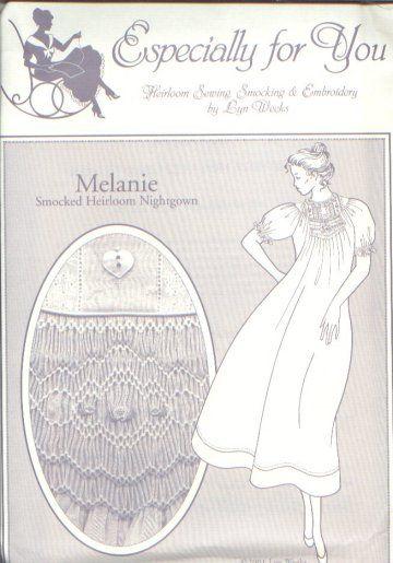 Melanie Size P-Xl Ladies Smocked Heirloom Nightgown Sewing Pattern