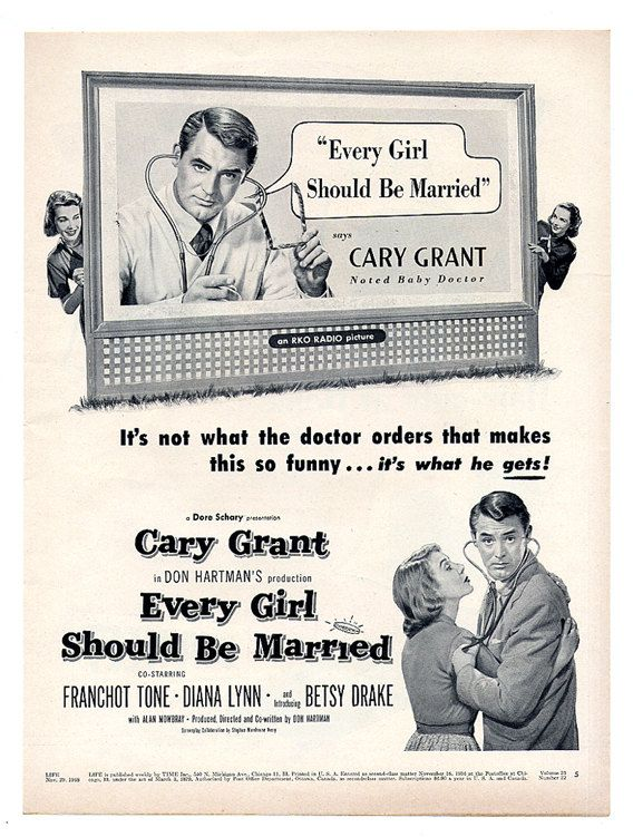 Vintage Movie Ad Cary Grant Advertisement 1948 Every by paperink, $9.95