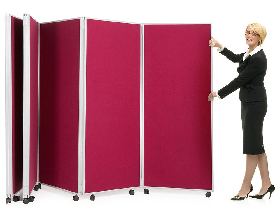 Mobile Concertina Divider Partitions. Folding display boards on wheels  excepts pins and velcro, available - Mobile Concertina Divider Partitions. Folding Display Boards On