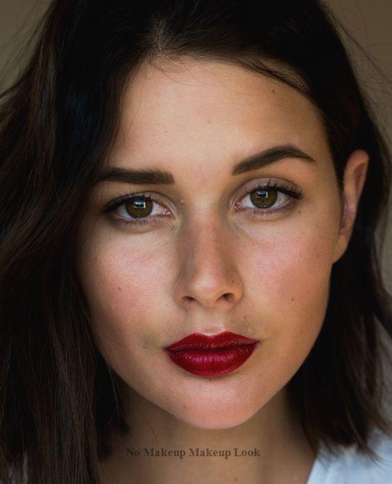 No Makeup Makeup Look Nomakeup In 2020 Red Lips Makeup Look