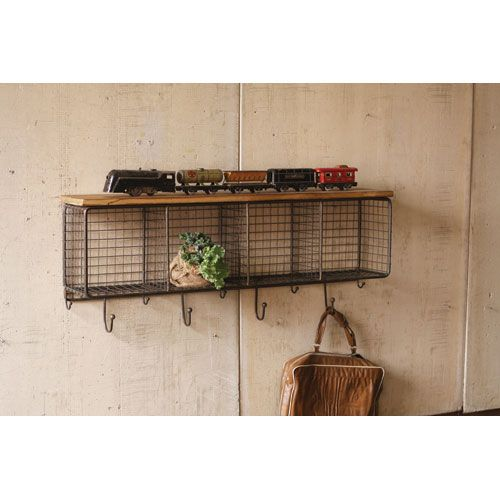 Natural Wire Mesh Four Horizontal Cubbies W Raw Wooden Top Kalalou Wall Mounted Coat Rack Wood Shelves Rustic Furniture Metal Shelves