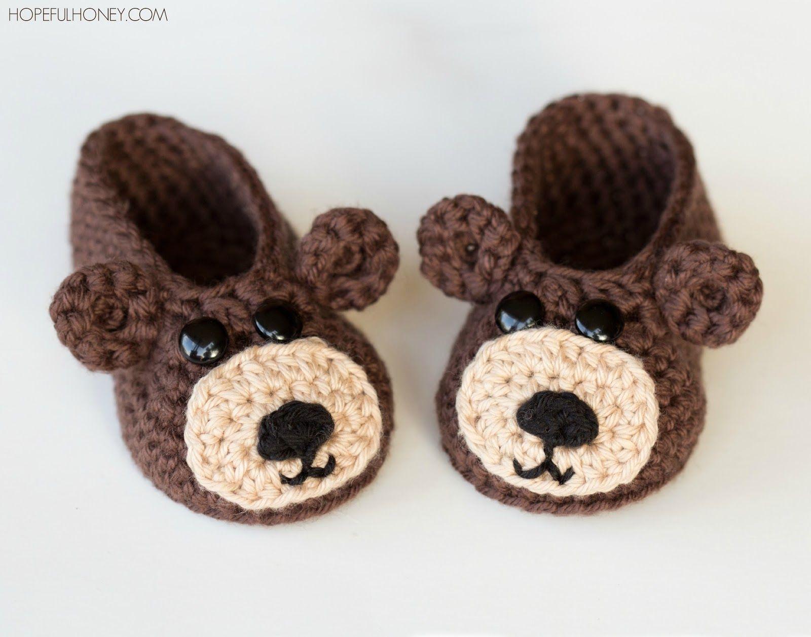 Teddy Bear Baby Booties Crochet Pattern