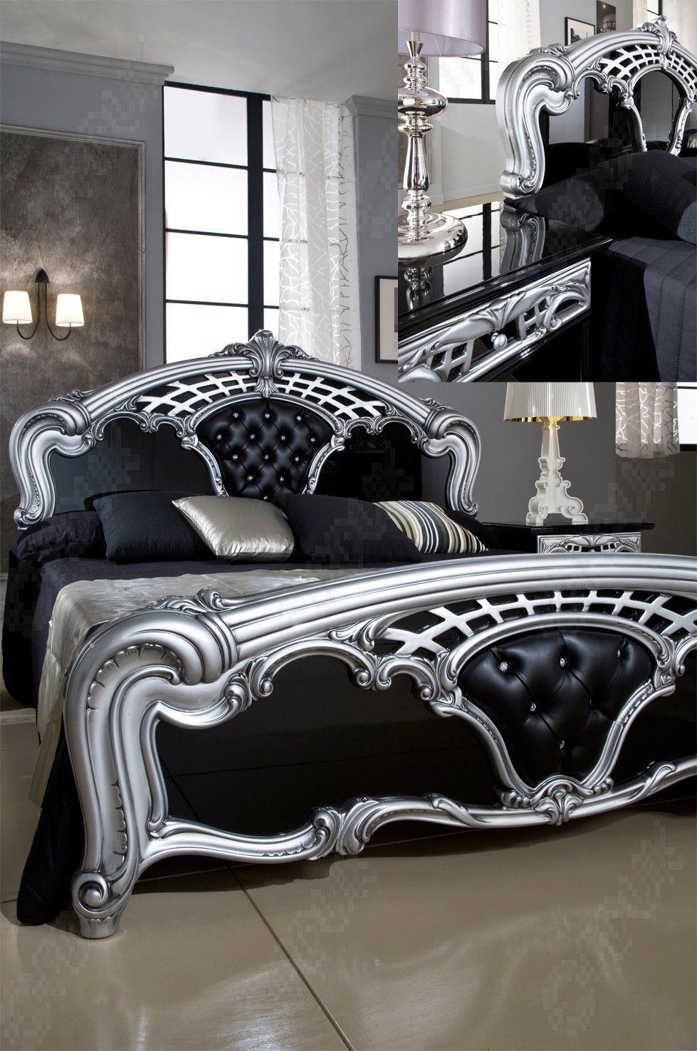 Buy MCS Sara Black and Silver Bed Frame from Furnituredirectuk.net ...