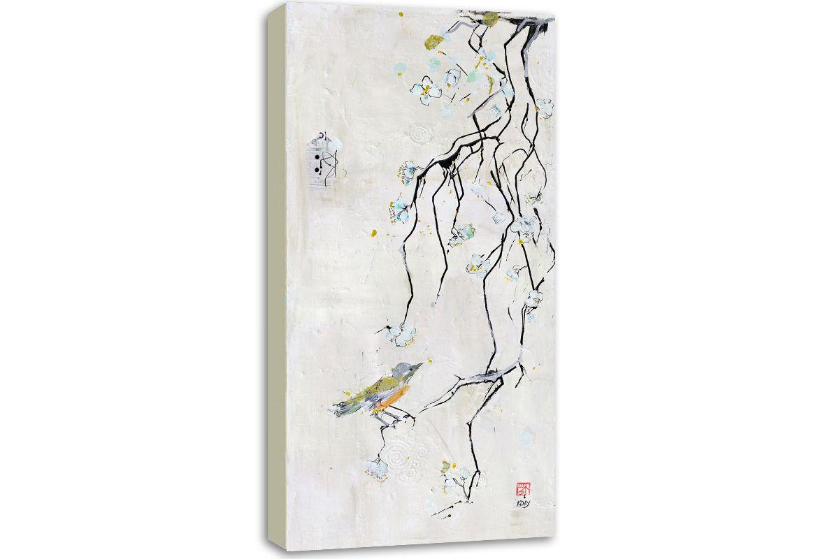 Canvas print of my Japanese bird print. $275-$375 http://kelliedayart.com/shop/canvas-prints/little-bird-print/