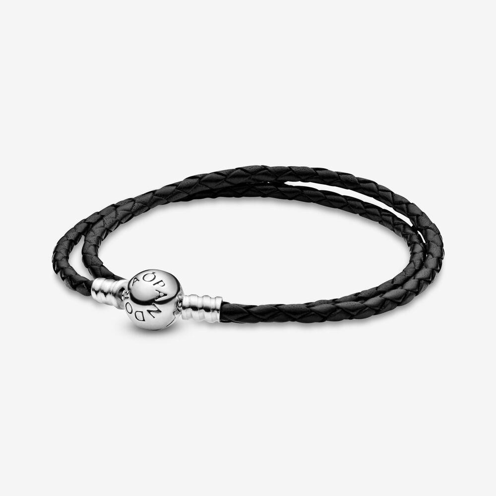 Pandora Moments Double Black Leather Bracelet | Bracelets en cuir ...