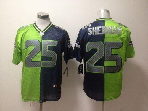 Nike Seahawks  25 Richard Sherman Steel Blue Green Men s Stitched NFL Elite  Split Jersey 204a52356