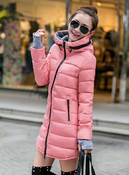 New women's winter jacket down cotton jacket slim parkas ladies ...