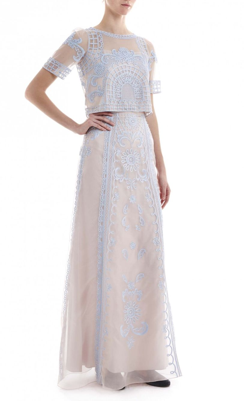 Alice temperley skirt and top loose fit crop top prom