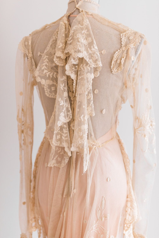 Sale Cream Antique Victorian Sheer Irish Lace Wedding
