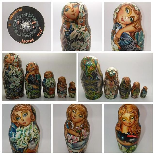 Purchased a beautiful set of matryoshka , looking for information on where and when it was made, name of the piece, along with any info about the artist. Can anyone help me identify her? #Russia #Russian #art #artist #matryoshka # nestingdolls #identifytheartist #identifyart #translate #translation #russiantranslation #birds #nature #painting #artistry #handpainted
