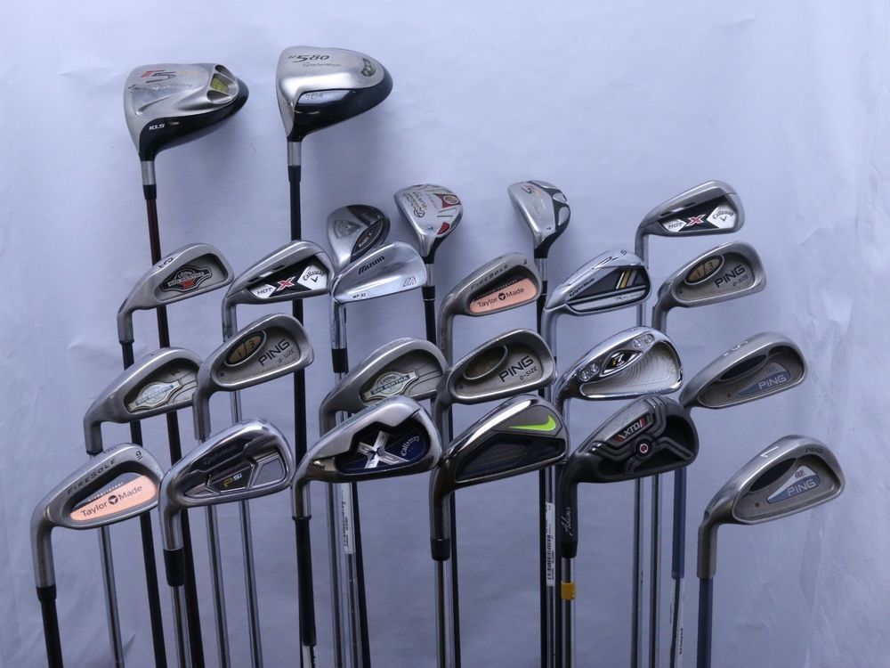 ff9707a228b6 Lot of 24 Left Handed Golf Club Driver Hybrid Iron Taylormade Callaway Nike  Ping (eBay Link)