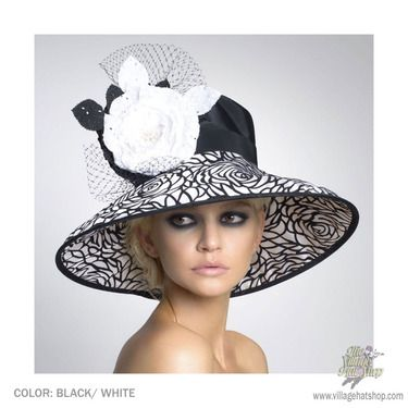 Chelsea Widebrim Derby Hat by Arturo Rios (Black White)  0c4aad9c398