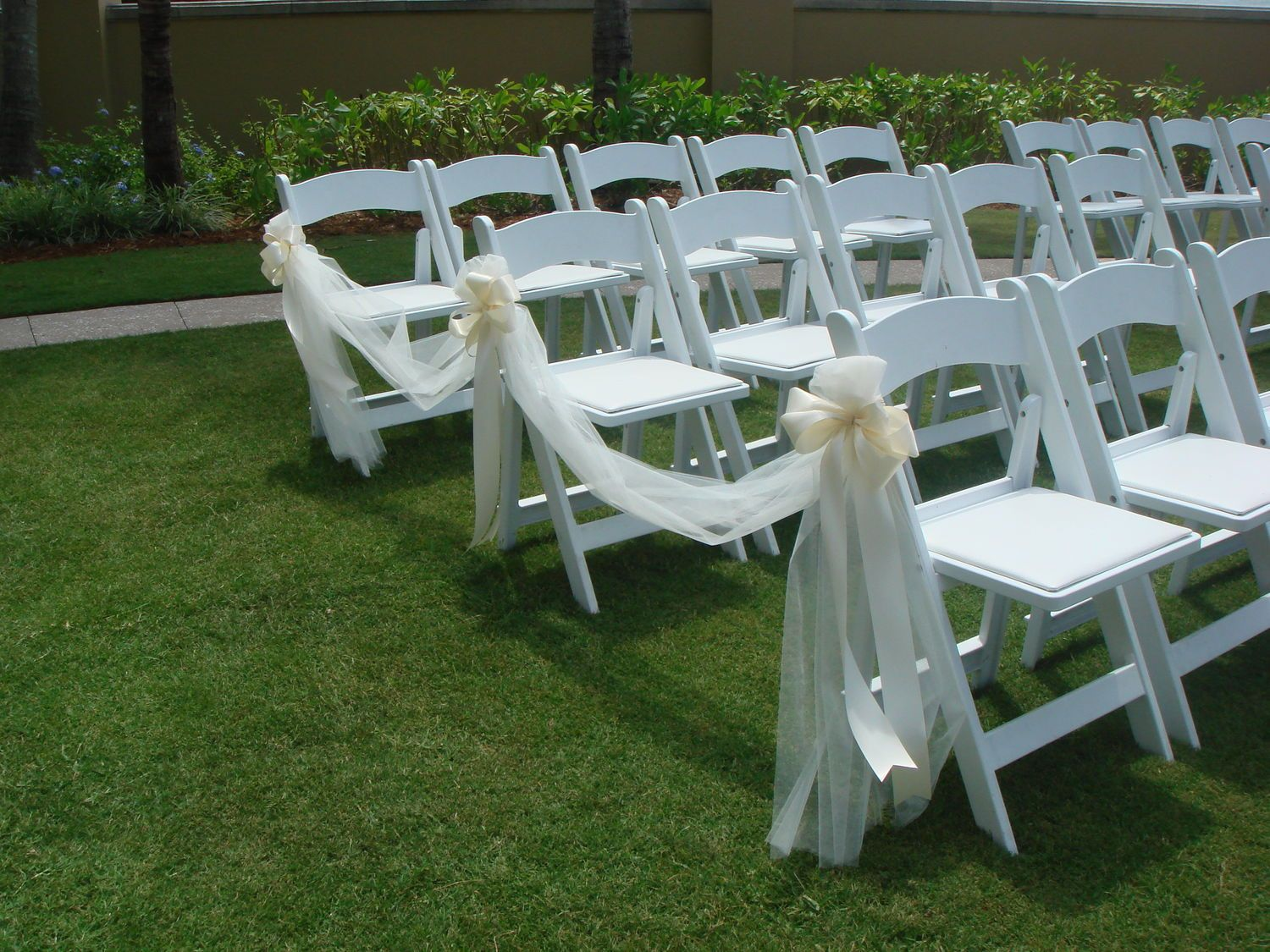 White Chairs For Wedding Floral Arm Chair Ceremony Decorations Tulle And Ribbon Bows