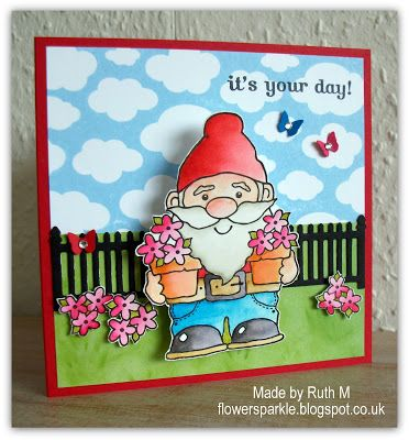 Flower Sparkle Wobble Gnome Birthday Card Cards In 2018