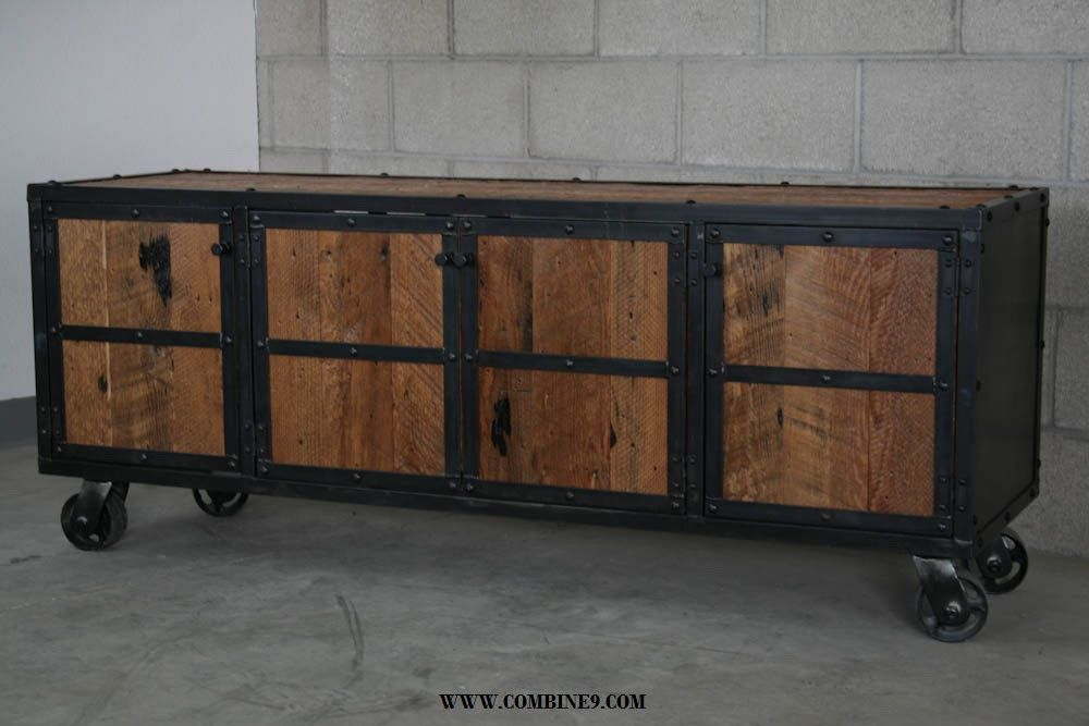 Reclaimed Wood Media Console. Industrial Credenza. Modern