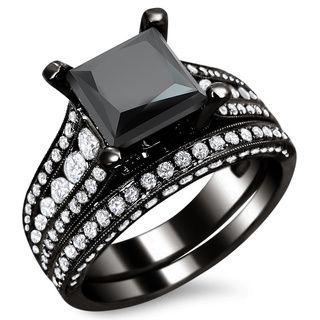 18k Gold 4ct TDW Certified Princess Cut Black And White Diamond Ring Set E F