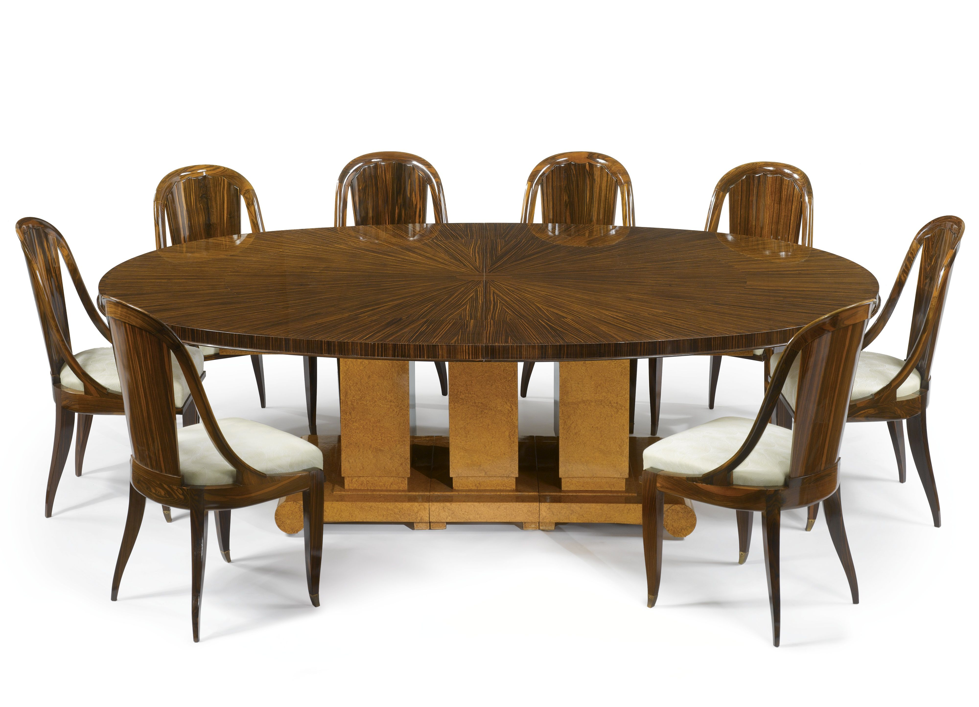Émile Jacques Ruhlmann Dining Table Model 1314 Nr And Eight CannelÉe Chairs 77 Ar 88 Underside Of Top Branded Twice With