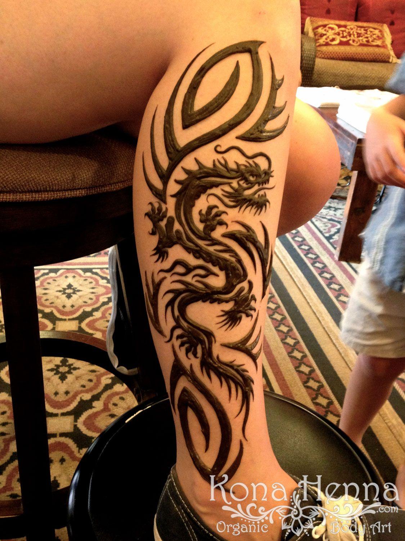 Kona Henna Studio Tribal Dragon Leg Kona Henna Legs