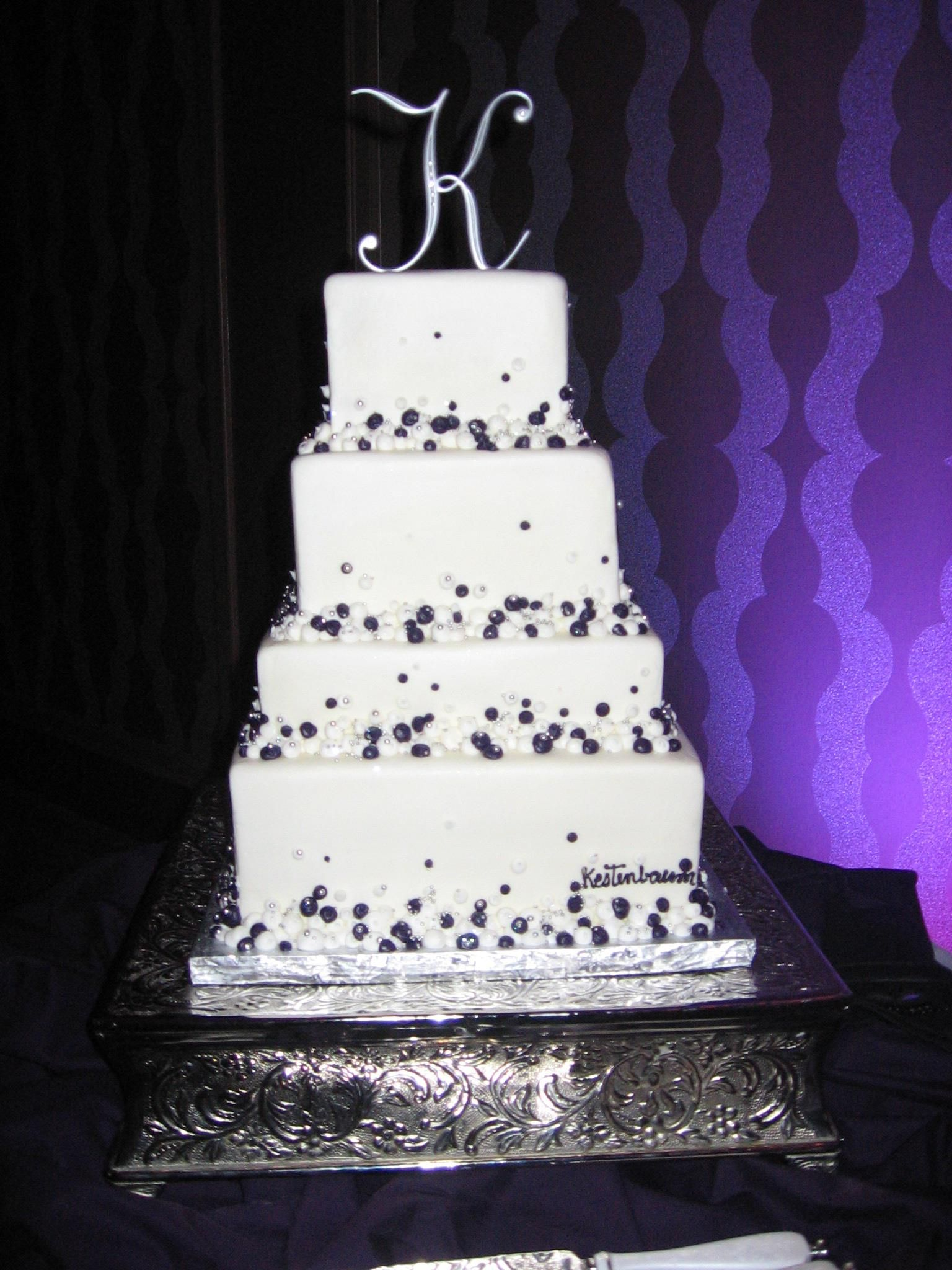 Top Tier Wedding Cakes Orlando Custom Purple Silver Modern