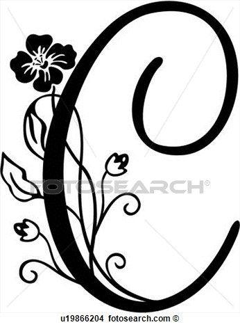 Alfabeto C Capital Monogram Manuscrito Lettered Ampliar