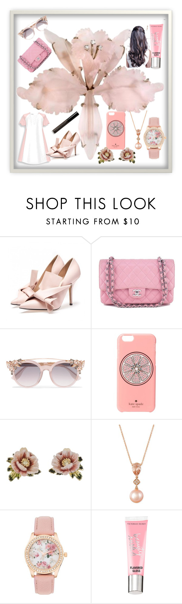 """#1"" by glamitup-377 ❤ liked on Polyvore featuring Chanel, Jimmy Choo, Kate Spade, Les Néréides, LE VIAN, Beauty Rush, Le Métier de Beauté and pastel"