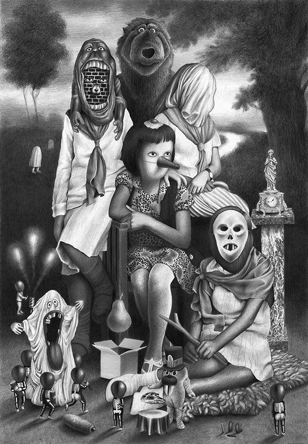 El modelo familiar según © Amandine Urruty | Cóctel Demente  #ilustracion #illustration