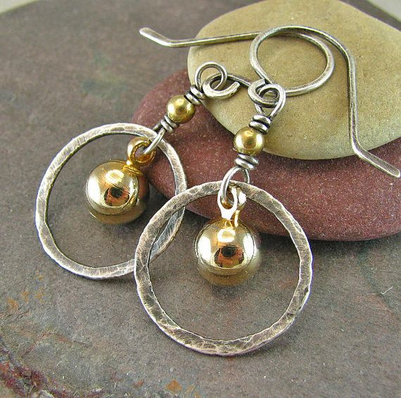 Hammered Silver Circle Earrings Rustic Jewelry by ConstantCraving, $33.00