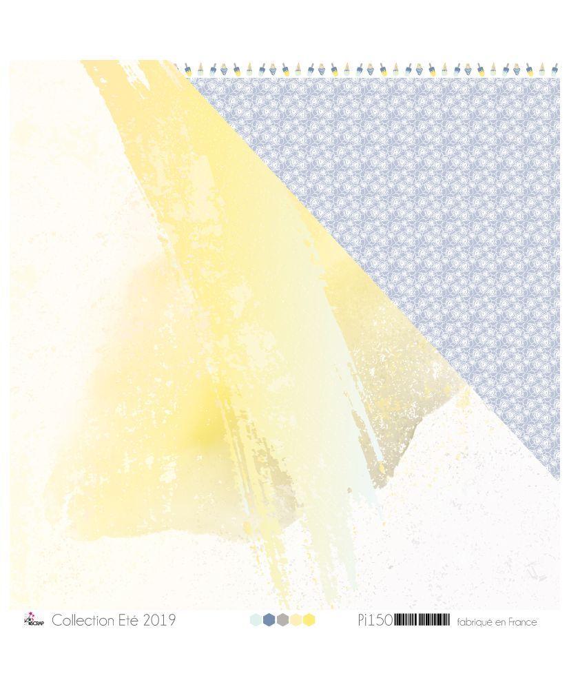 Papier Imprime Scrapbooking Carterie Aquarelle Jaune Grise