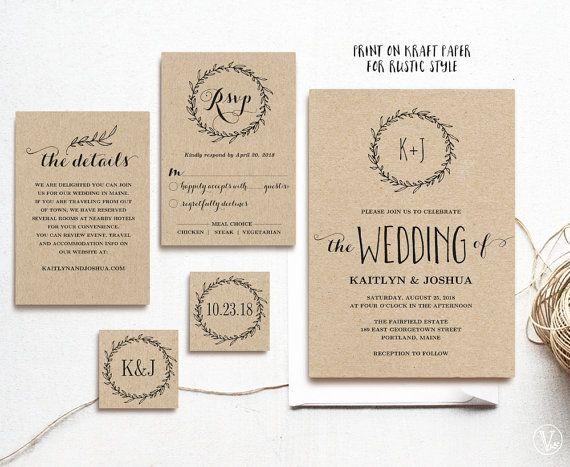 Rustic Wedding Invitation Classic Wreath Wedding Invitation