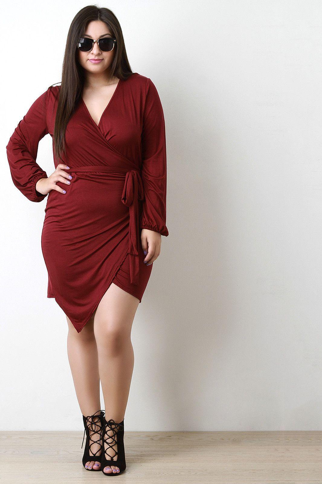 Long sleeve asymmetrical hem wrap dress products pinterest