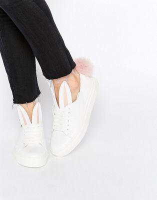 Minna Parikka White Leather Bunny Ears & Faux Fur Tail Sneakers