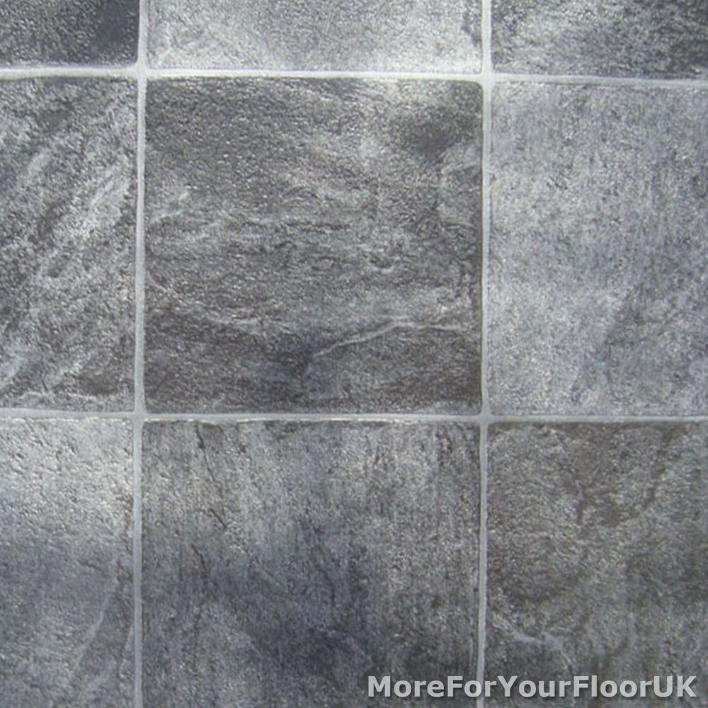 Grey Stone Tile Vinyl Flooring Kitchen Bathroom Lino In Home Furniture Diy Diy Materials Flooring Vinyl Flooring Kitchen Vinyl Flooring Kitchen Flooring