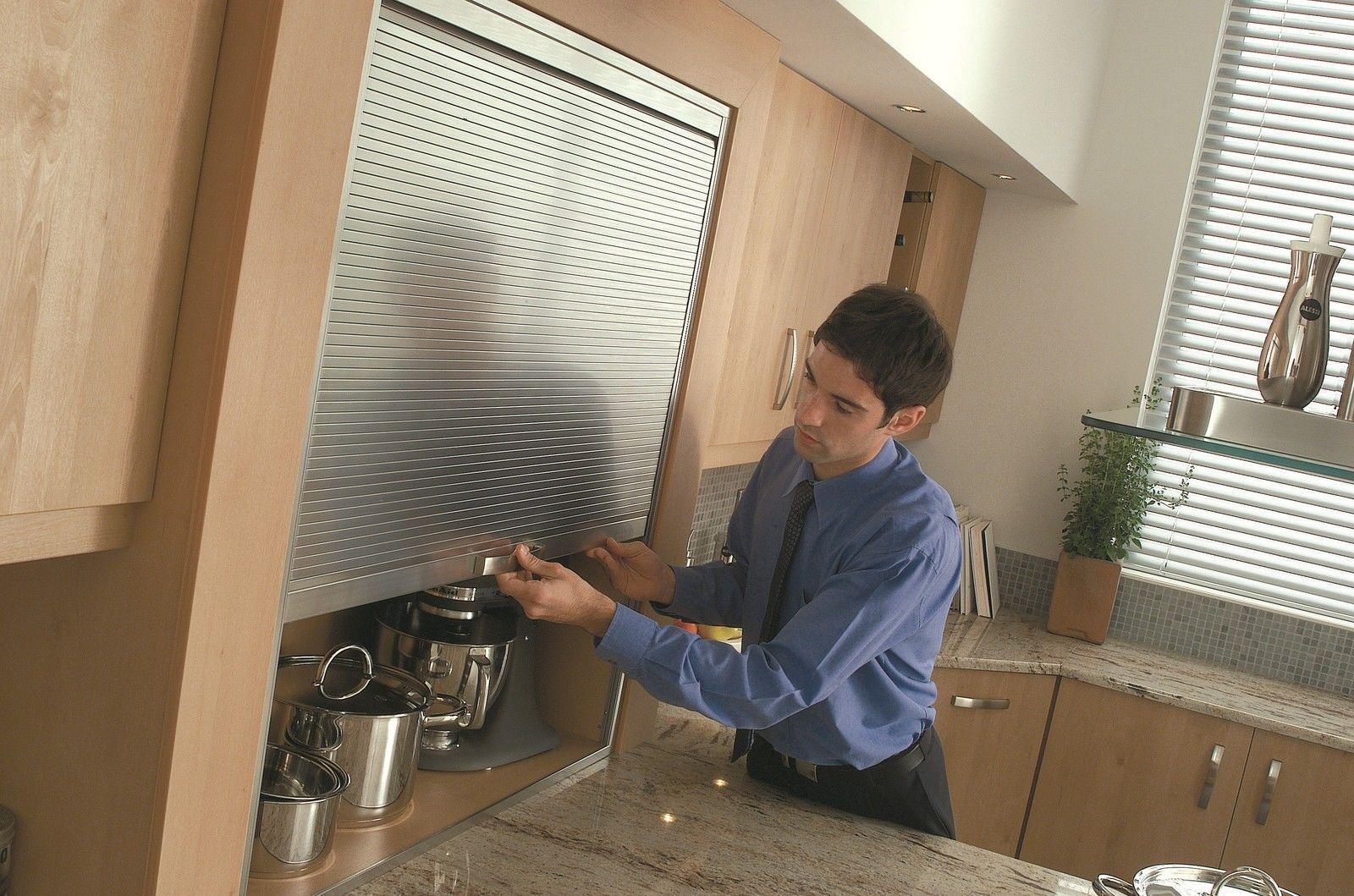 1450mm High Premium Tambour Door Kit Stainless Effect Roller Shutter Kitchens Roller Shutters Door Kits Kitchen Cabinets