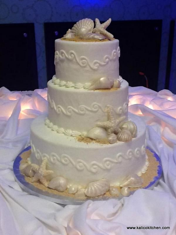 Beach Theme Cakes Buttercream Themed Wedding Cakes 3 Tier