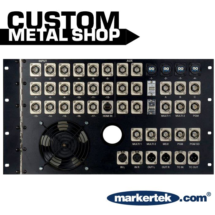Our In-house Metal Shop is able to custom build rack panels to your