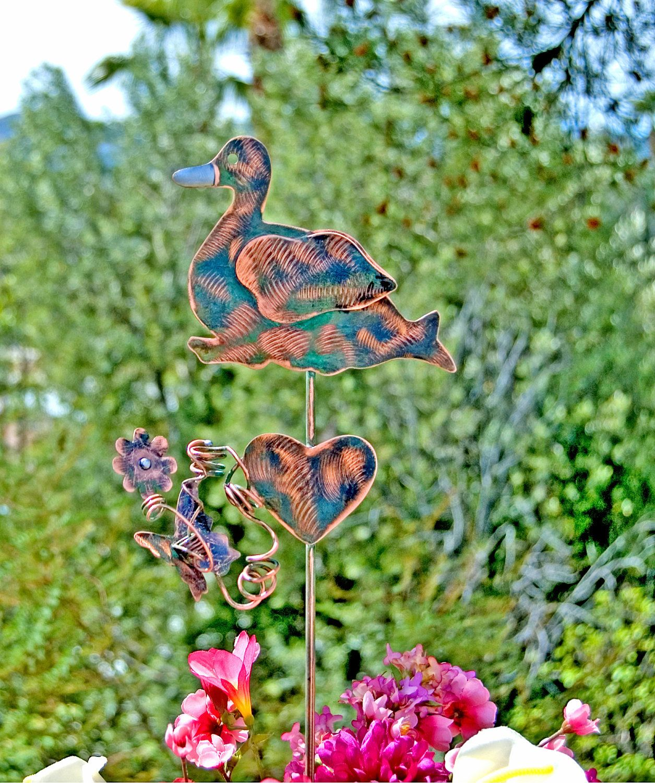 Duck Garden Plant Stake / Metal Yard Art / Garden Copper Art ...