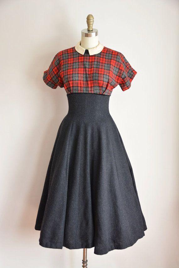 50s Down the Chimney dress/ vintage 1950s plaid wool dress/ 50s winter full  skirt