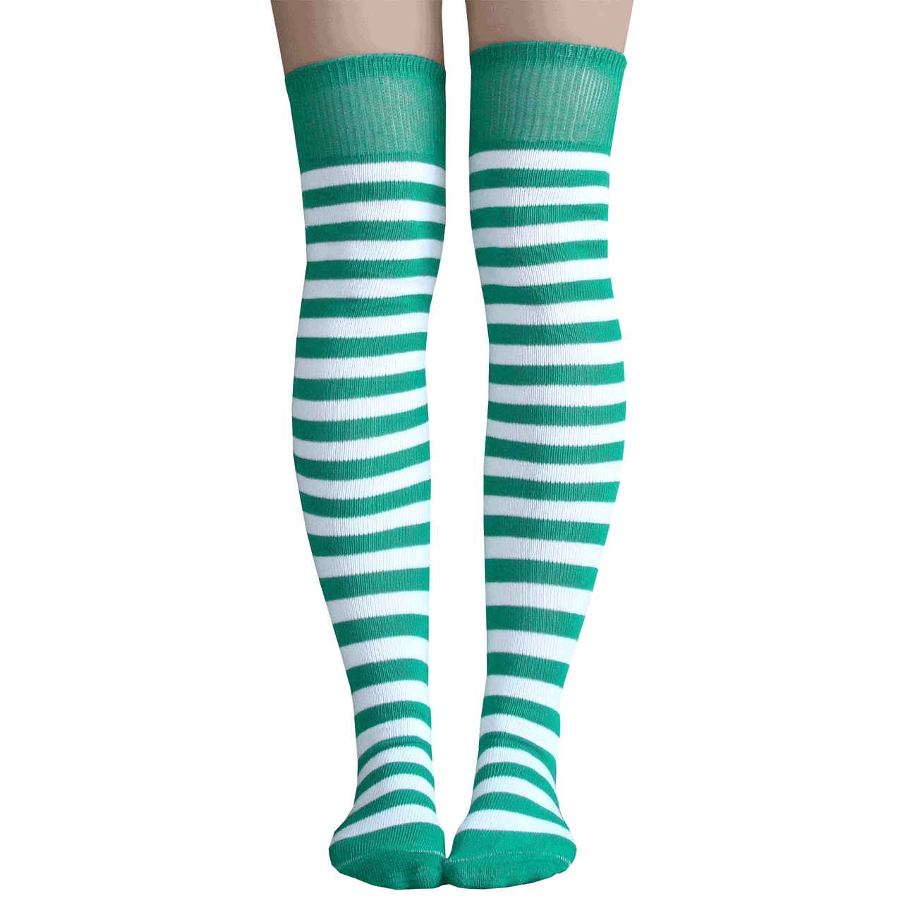 6959a2f0bcf Green   White Striped Knee Highs -over the knee with green and white stripes  - thigh high stockings that stay up your leg
