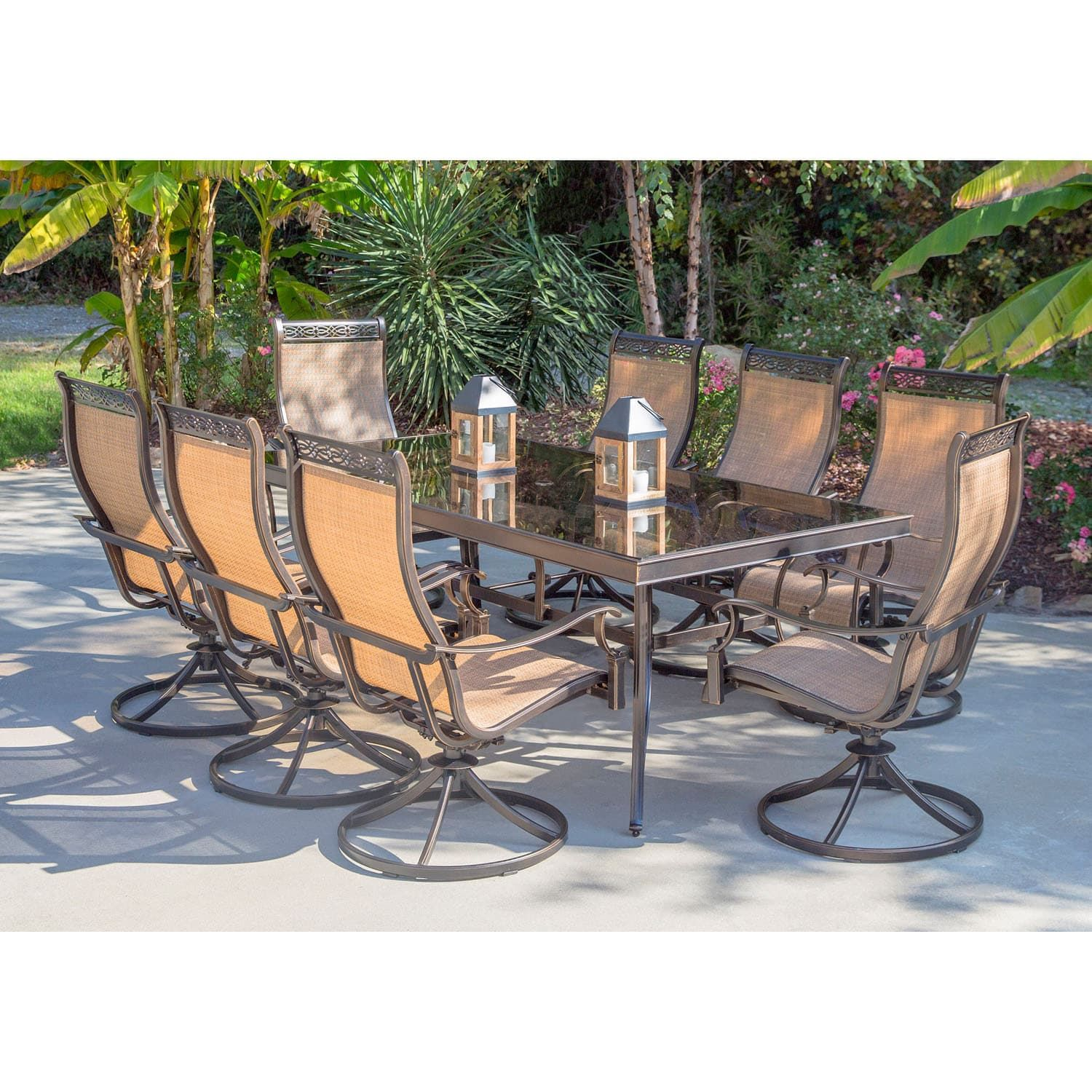 84 inch dining table dining madison hanover monaco 42inc inches high 84inch dining table eight swivel rockers 9piece set tan size 9piece sets patio furniture aluminum