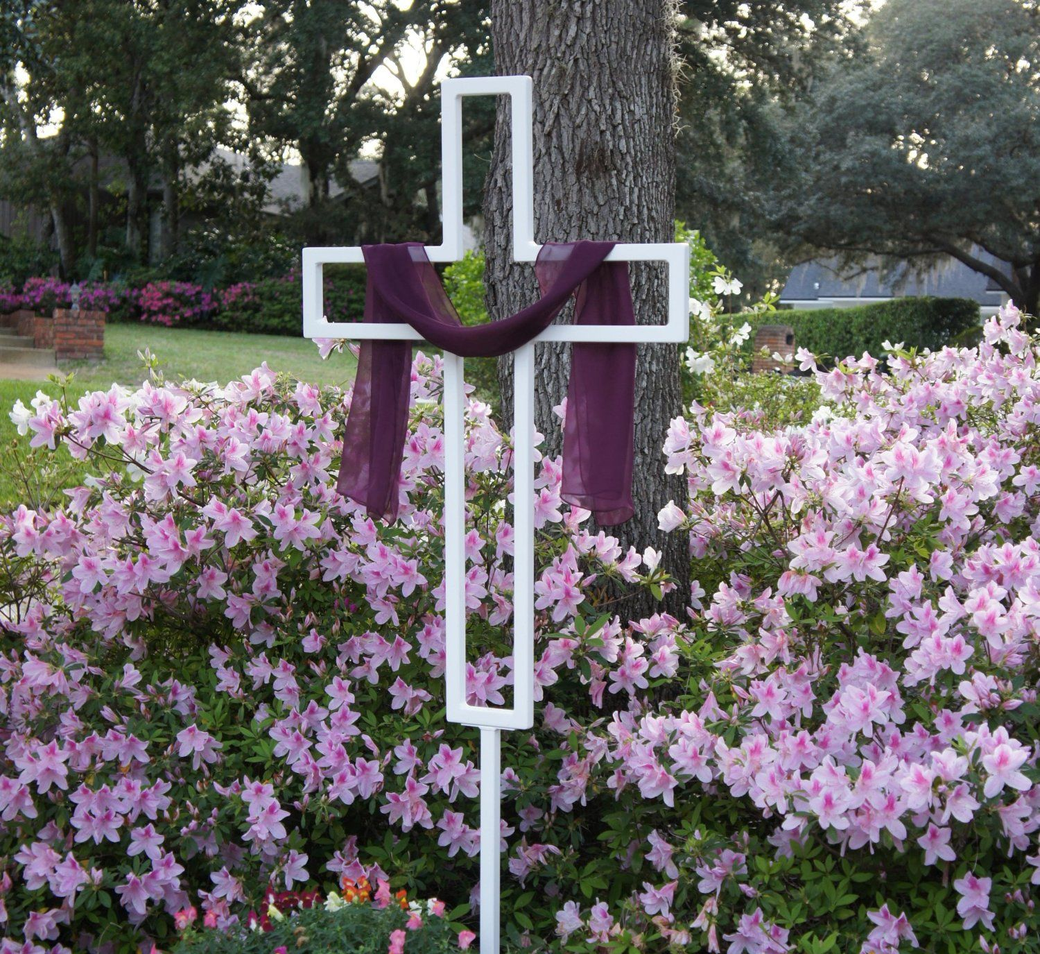 Religious easter yard decorations - Religious Easter Decor Teak Isle Tall Easter Yard Cross For Lawn Or Garden Check Price