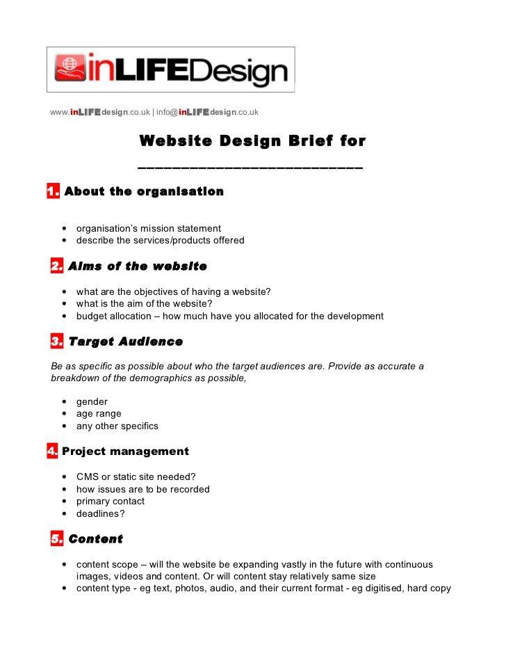 Web Design Brief Template Design Brief Template Web Design Design