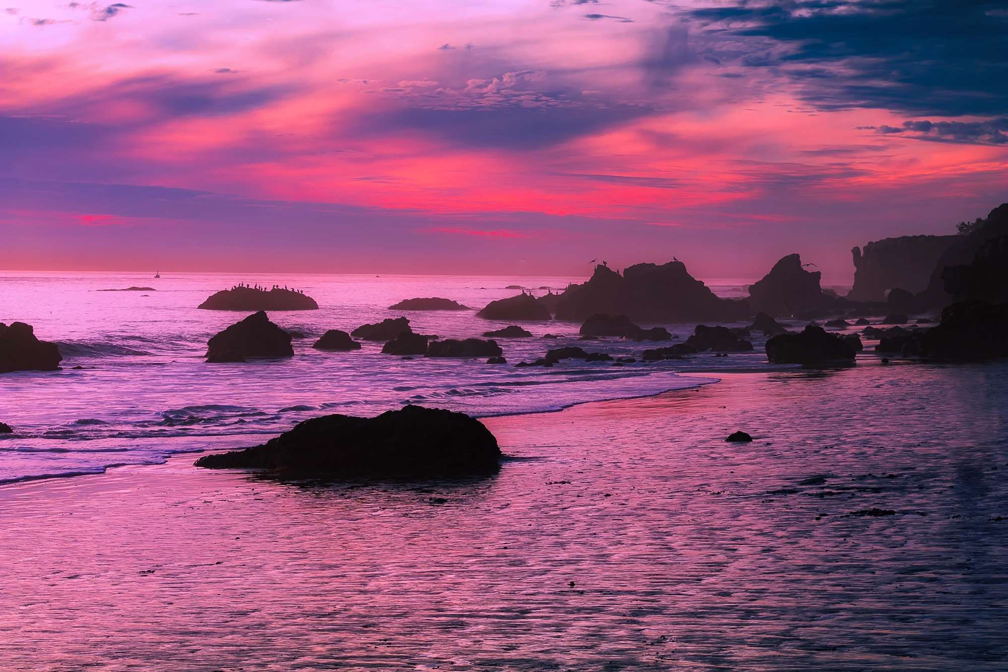 Beautiful Boulders California Clouds Colorful Colors Dusk Formations Hdr Malibu Nature Ocean Outcrop Long Weekend Trips California Sunset Dusk Sky Sunset sea pink clouds coast rocks